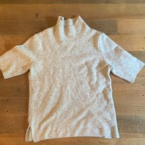 Wool Blend Short Sleeve Grey Turtleneck Top